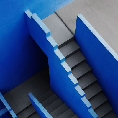 Stairway in cool blue